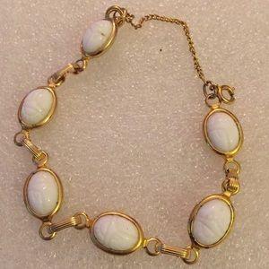 Vintage gem engraved scarab bracelet